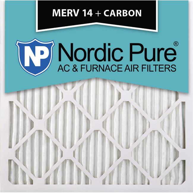 Nordic Pure 20x20x1 MERV 14 Plus Carbon Pleated AC Furnace Air Filters 12 Pack