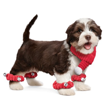 Scarf Dog Clothing - Festive Red Dog Scarf and Scrunchies Set with Bells - Set of 5, Winter Pet Accessories