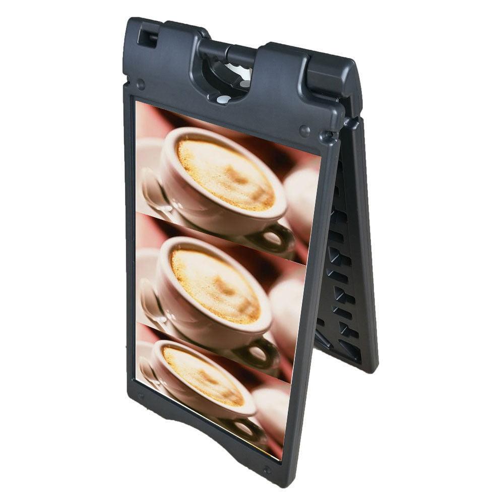 Ktaxon Dual-side Sidewalk Door Sign Sandwich Board, A-frame Plastic Films Windproof Advertising Display Holder Stand, Black