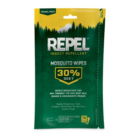 Repel Insect Repellent Mosquito Wipes 30% DEET,