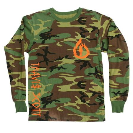 Travis Scott, La Flame Logo, Camouflage Long Sleeve Shirt (Orange