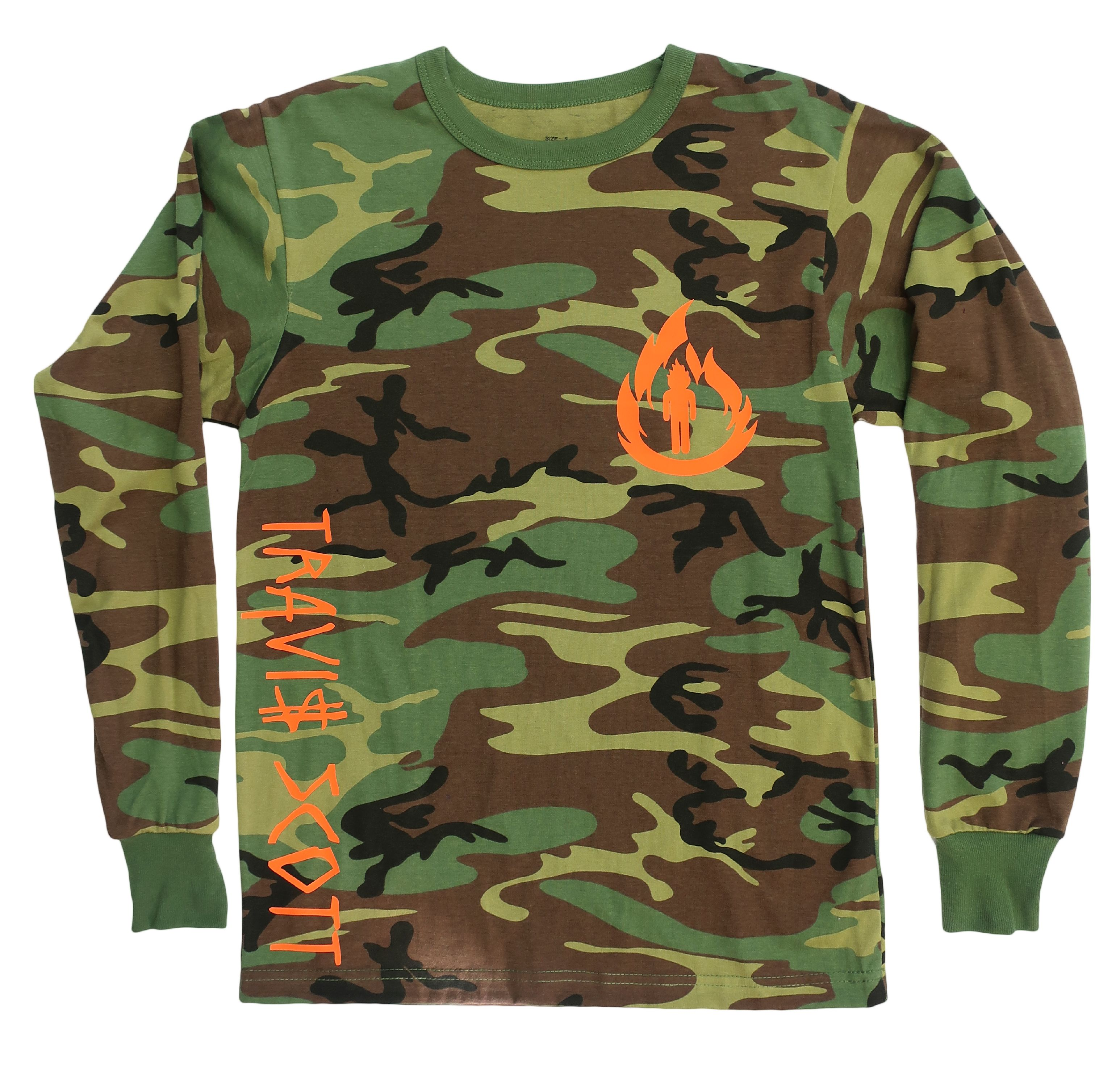 Travis Scott, La Flame Logo, Camouflage Long Sleeve Shirt (Orange Logo)