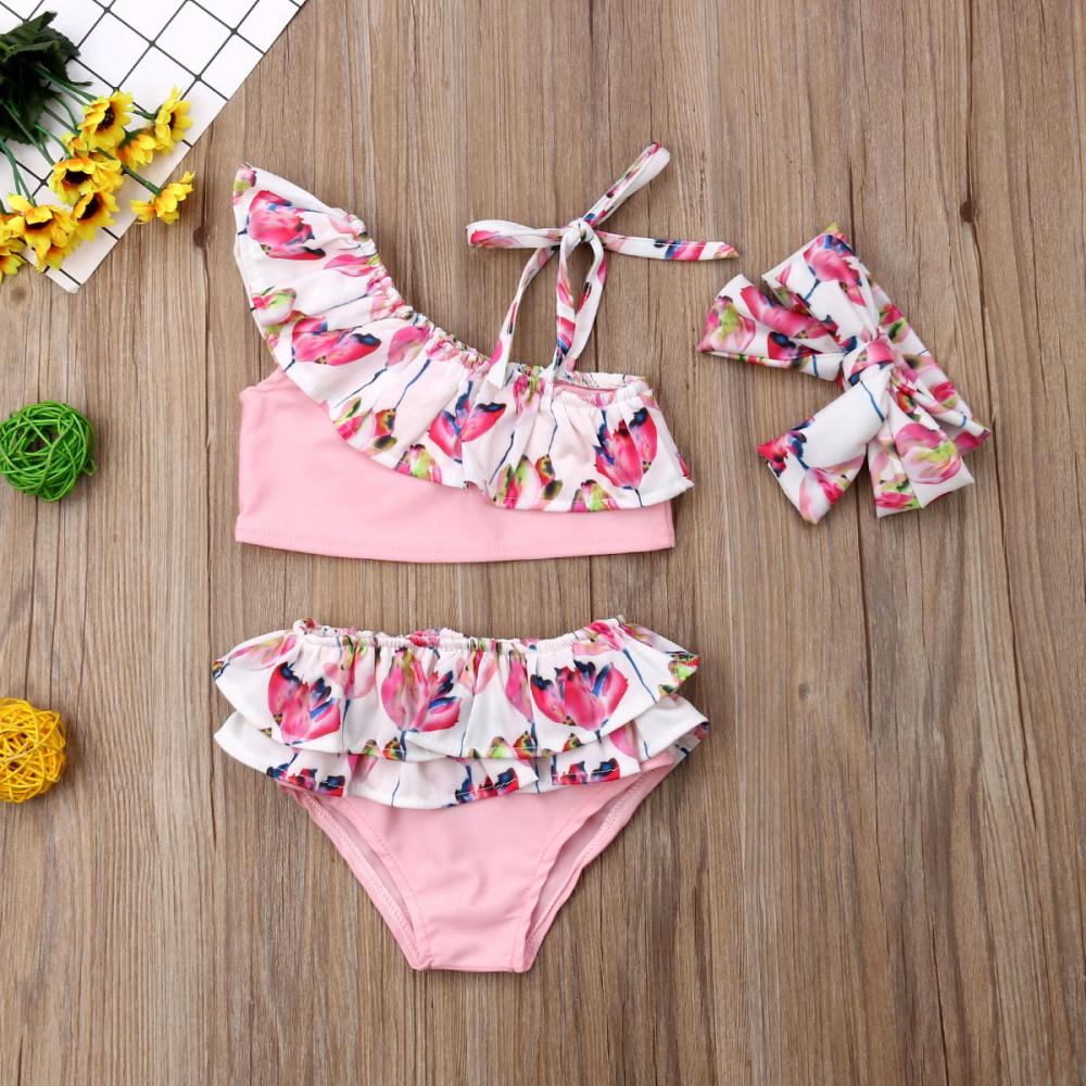 9cec72aca61ea XIAXAIXU - 3PCS Summer Kids Baby Girl Flower Bikini Set Ruffle Swimwear  Swimsuit Bathing Suit - Walmart.com