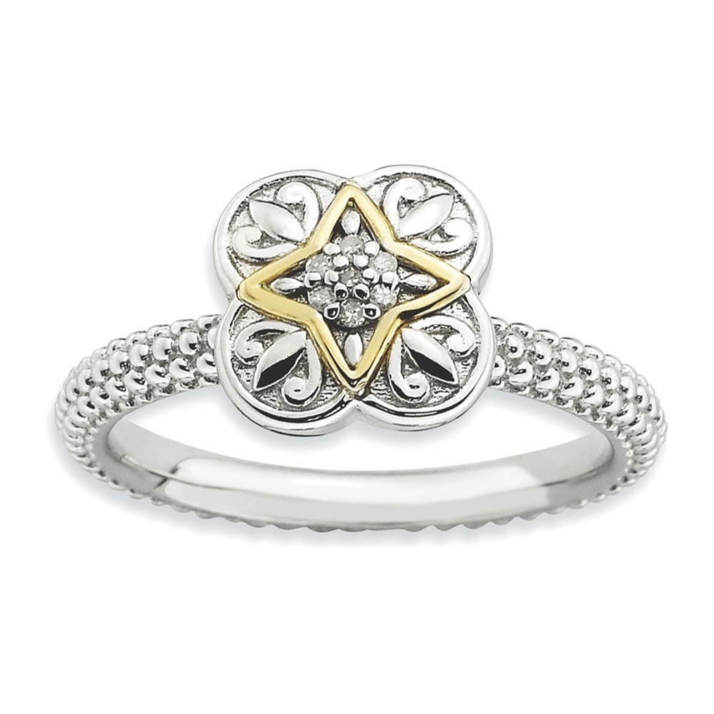 Sterling Silver & 14k Stackable Expressions Diamond Ring Size 7