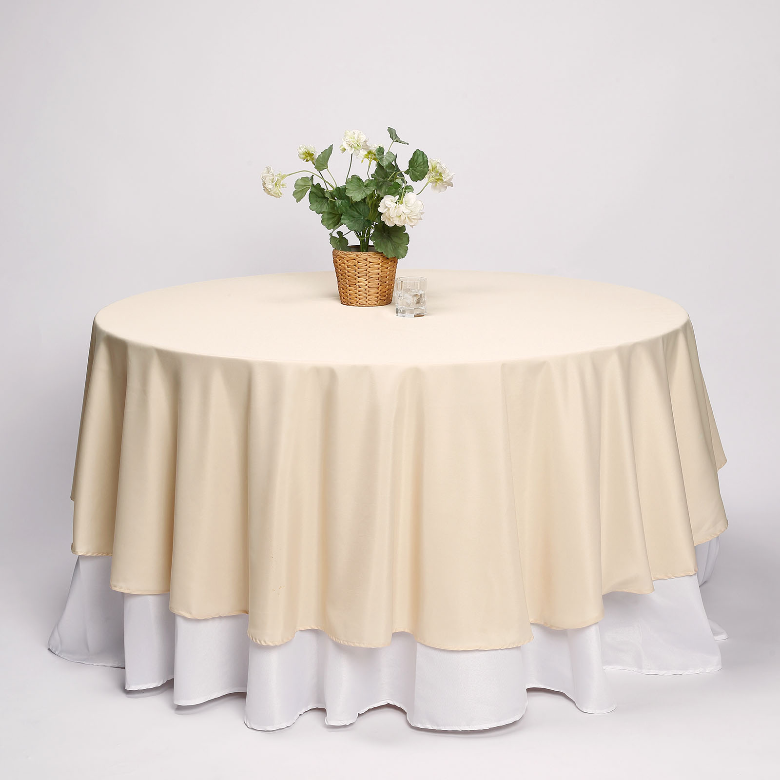 """BalsaCircle 108"""" Round Polyester Tablecloth for Party Wedding Reception Catering Dining Home Table Linens"""
