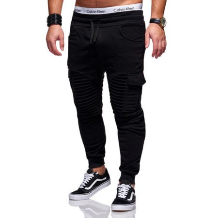Black Straight Leg Trousers - Fashion Mens Slim Fit Urban Straight Leg Trousers Casual Pencil Jogger Cargo Pants