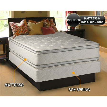 Natural Dream - (Twin Size) Medium Soft PillowTop Mattress and Box Spring Set Double-Sided Sleep System with Enhanced Cushion Support- Fully Assembled, Back Support, Longlasting by Dream Solutions USA