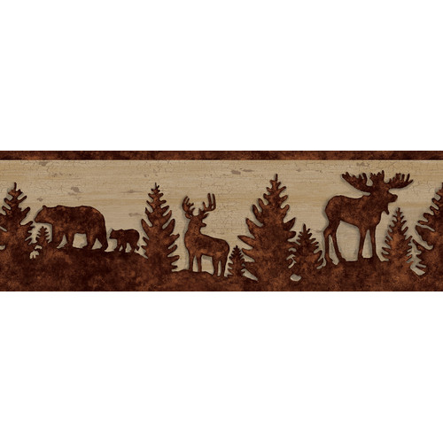 Brewster Home Fashions Echo Lake Lodge Shawnee Silhouettes 15' x 6.75'' Wildlife 3D Embossed Border Wallpaper