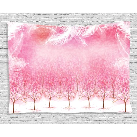 Feather House Decor Tapestry, Hazy Japanese Cherry Blossom Trees with Feather Effects on Top Romantic Decor, Wall Hanging for Bedroom Living Room Dorm Decor, 60W X 40L Inches, Pink, by Ambesonne