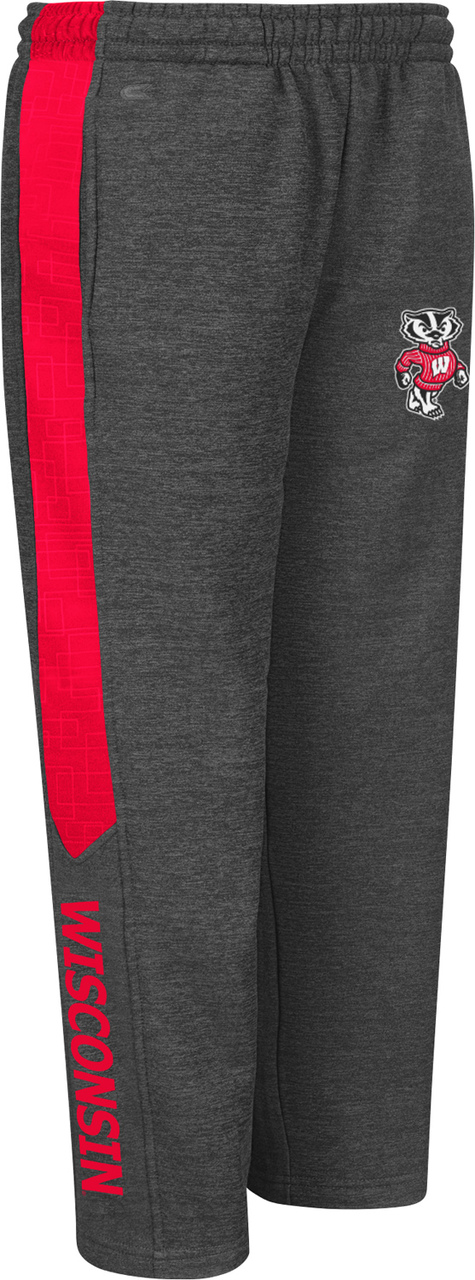 Wisconsin Badgers Youth Top Gun Fleece Pants Charcoal by Colosseum