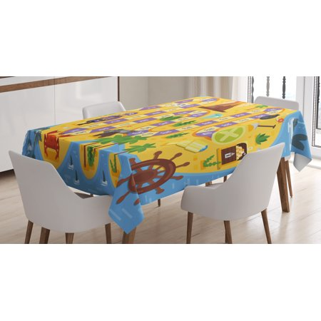 Kid's Activity Tablecloth, Finding Treasure of the Pirate Themed Board Game Style Colorful Island Map, Rectangular Table Cover for Dining Room Kitchen, 60 X 84 Inches, Multicolor, by Ambesonne](Pirate Treasure Map Game)