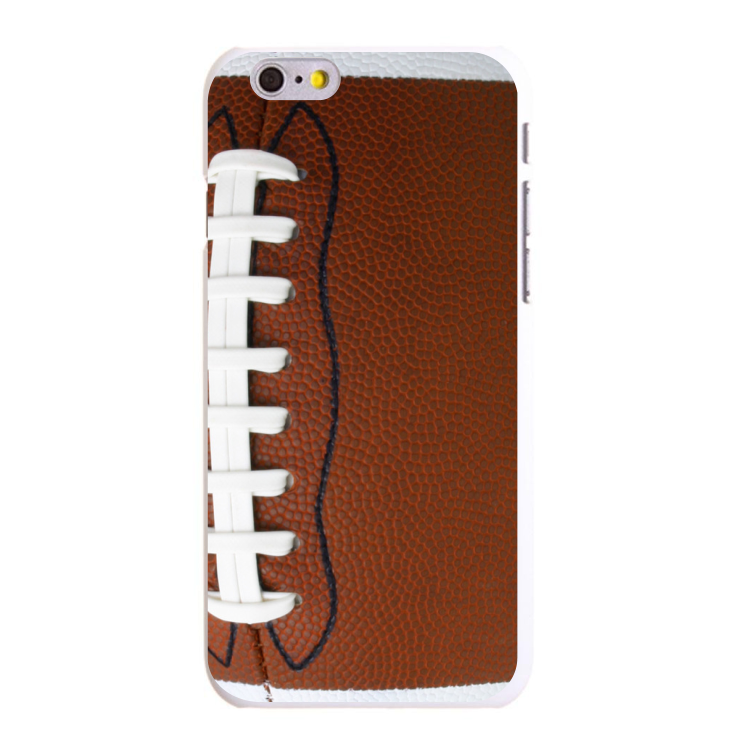 """CUSTOM White Hard Plastic Snap-On Case for Apple iPhone 6 PLUS / 6S PLUS (5.5"""" Screen) - Football Texture Photo Laces"""