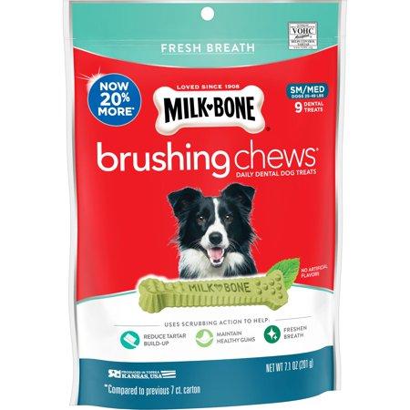 Milk-Bone Brushing Chews Daily Dental Dog Treats, Fresh Breath, Small-Medium, 7.1 Ounces, 9 Bones Per Bag
