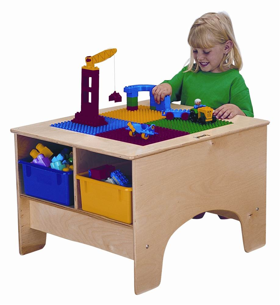 Kid's Building Block-Compatible Table w Colored Tubs (Duplo Table)