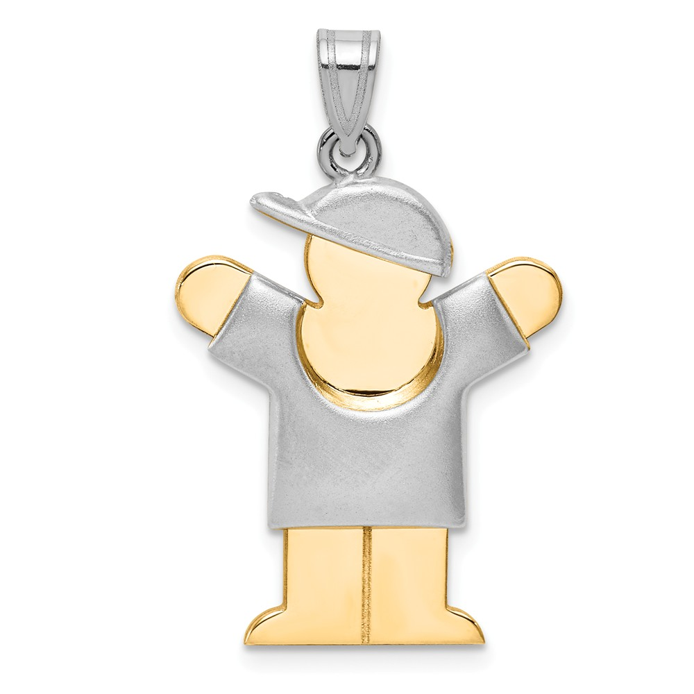 14k Two Tone Gold Puffed Boy with Hat on Right Engravable Charm (1.2in long x 0.8in wide)