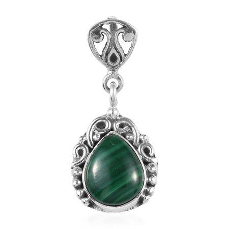 925 Sterling Silver Boho Handmade Pear Malachite Pendant Fashion for Women Jewelry Mothers Day Gifts Malachite White Pendant