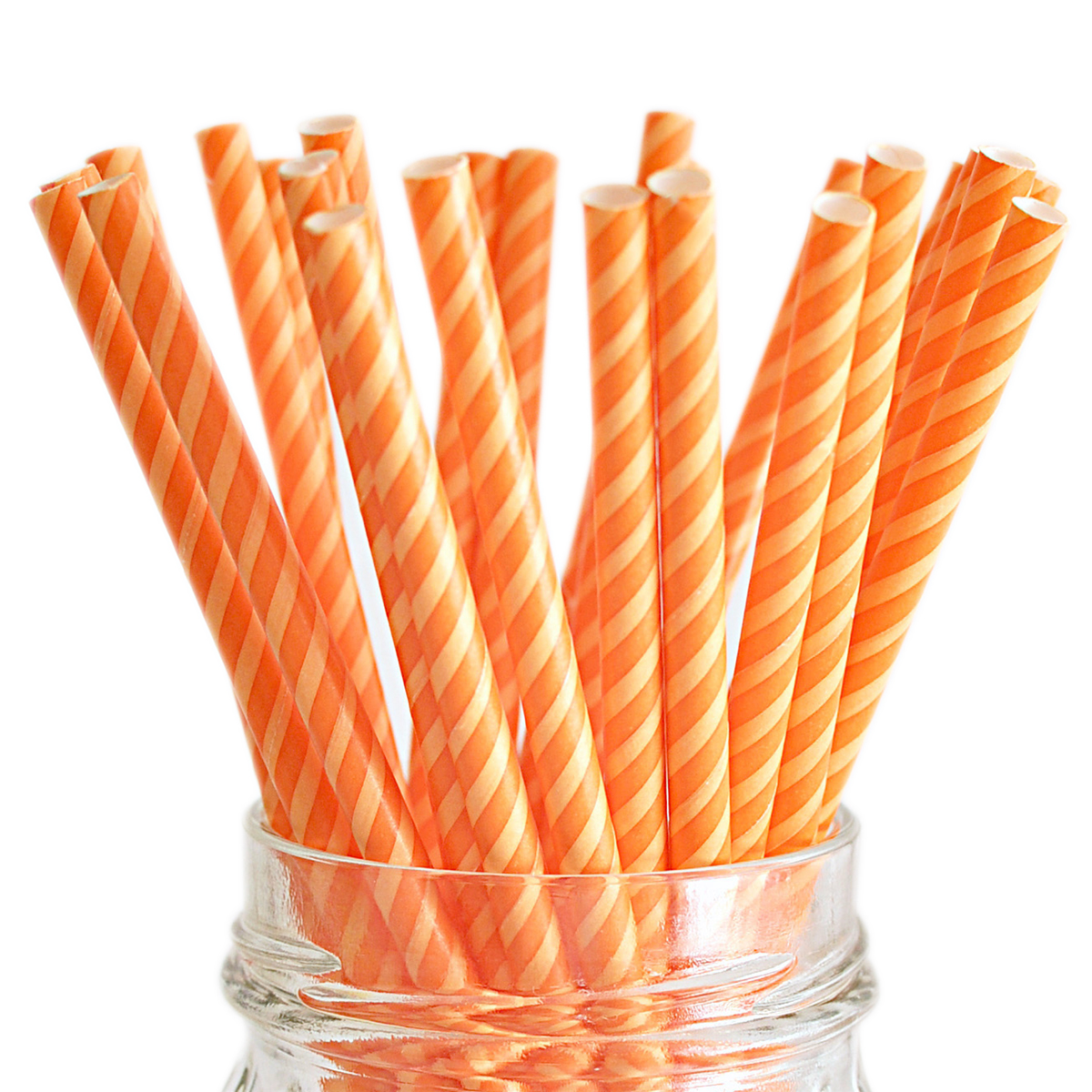"Stylish Stix Paper Straws .25""X7.75"" 25/Pkg-Juicy Stripes Orange Crush"
