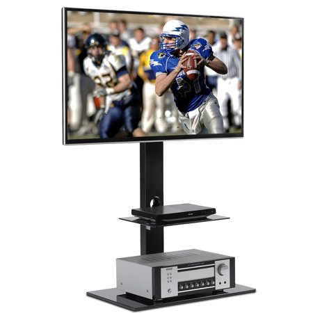 Rfiver Universal Floor TV Stand with 2 shelves, Swivel Bracket Mount for 32 to 65 inch Plasma LCD LED OLED Flat or Curved Screen TVs, TF2001 ()