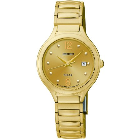 Womens Solar Stainless Steel Case and Bracelet Champagne Dial Gold Watch - SUT180