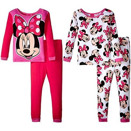 Disney Girls Minnie Mouse Smile Pretty 4 Piece Cotton Set, Multicolor, 8 Kids