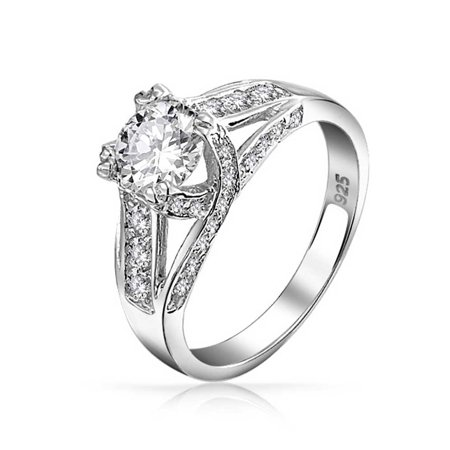 - Classic Round Colorless Cubic Zirconia 925 Sterling Silver Criss Cross Set Design Solitaire CZ Engagement Band Ring