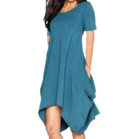 Women's Fashion Casual Summer O-neck Chiffon Solid Color Short Sleeve Dress