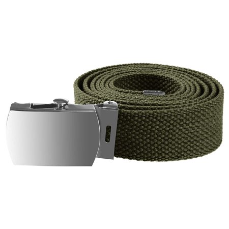Enimay Kids Canvas Belt Woven Military Silver Roller Buckle Olive 30 Inch