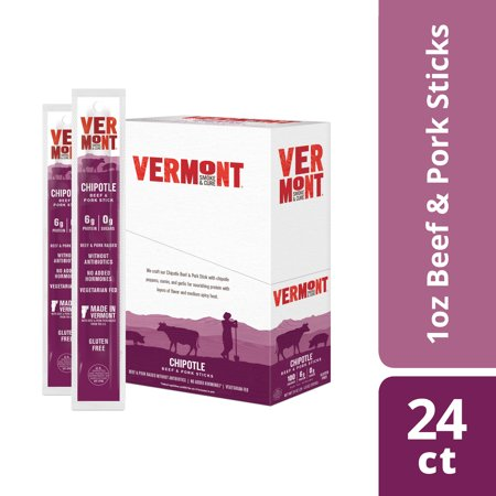 Vermont Smoke & Cure Meat Sticks, Beef & Pork, Antibiotic Free, Gluten Free, Chipotle, 1oz Stick, 24 (Smoked Roast Beef)