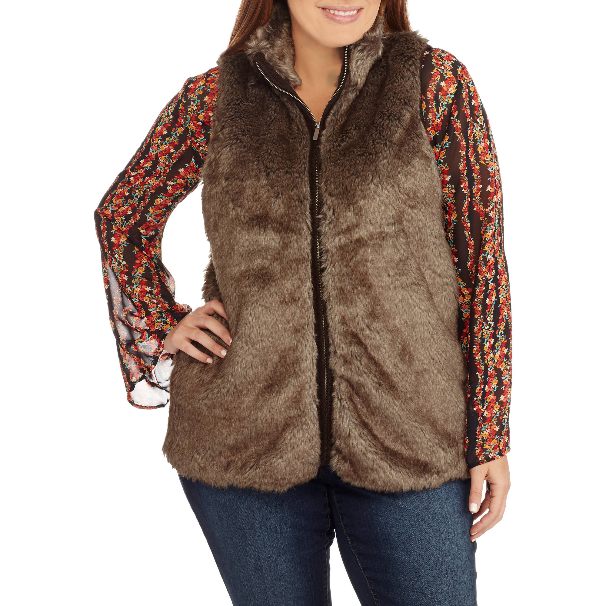 Heart and Crush Women's Plus Faux Fur Zip Up Vest