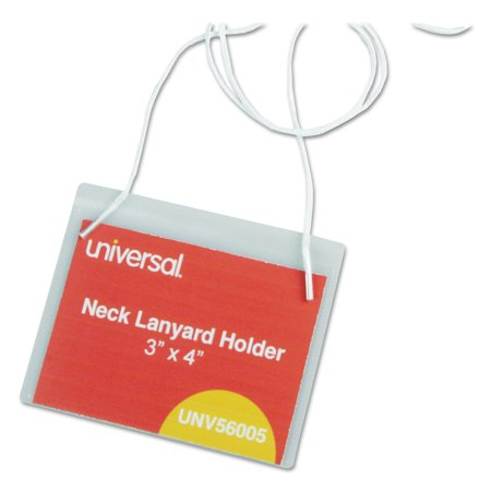 Clear Badge Holders w/Neck Lanyards, 3 x 4, White Inserts, 100/Box Badge Holder Insert Blank