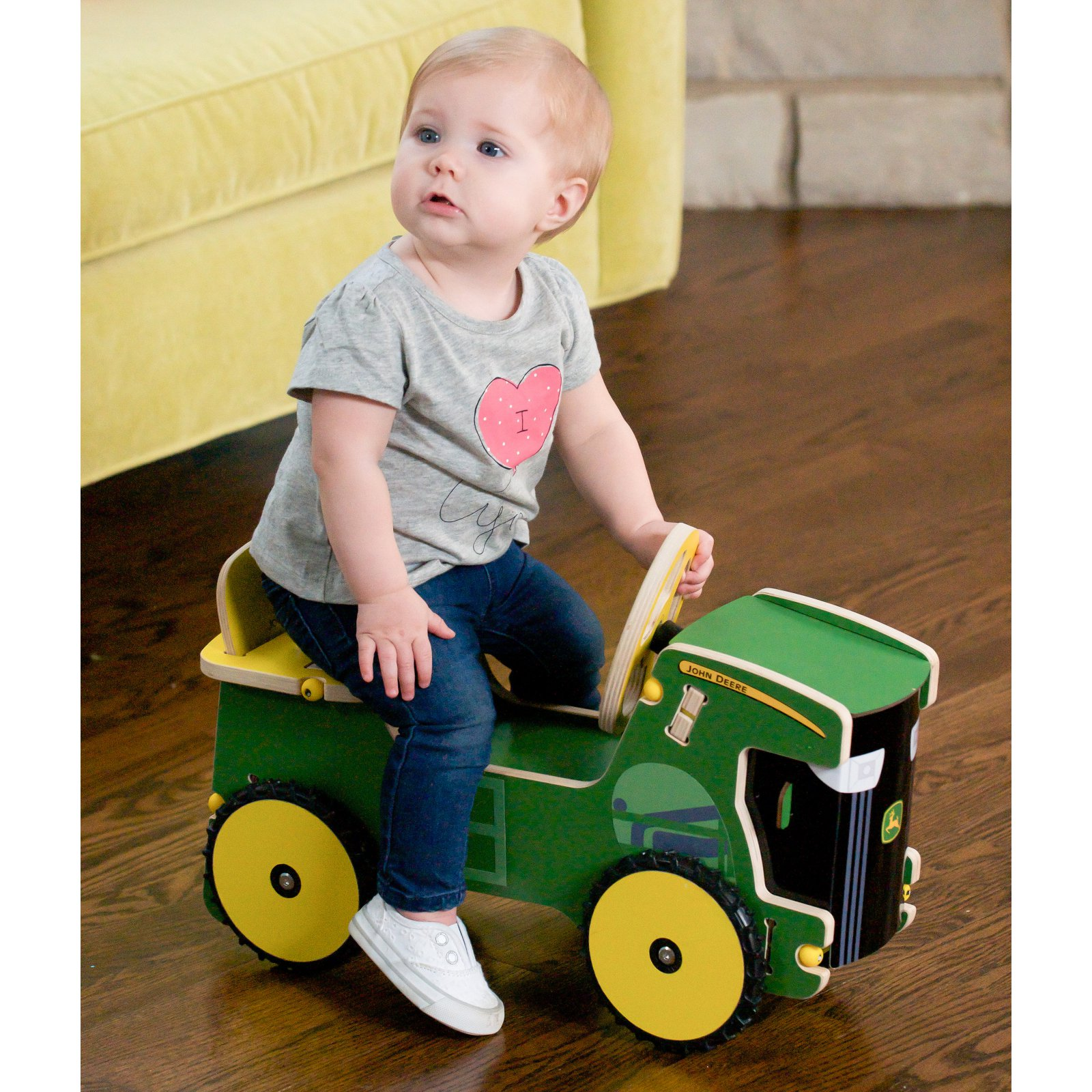 Buildex John Deere Jr Tractor Riding Push Toy