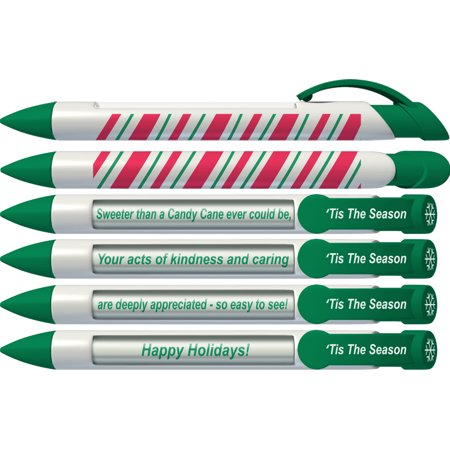 Christmas Pen by Greeting Pen- Candy Cane Holiday Rotating Message Pen - 6 Pack (36061) - Christmas Pens