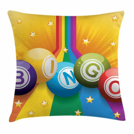 Bingo Throw Pillow Cushion Cover, Colorful Bingo Balls on Rainbow over Yellow Bursting Background Leisure Time Fun, Decorative Square Accent Pillow Case, 16 X 16 Inches, Multicolor, by Ambesonne ()