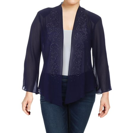 R&M Richards Womens Georgette Embellished Cardigan Top