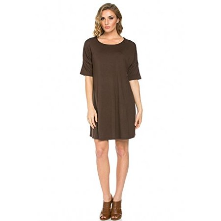Stone Dress Clip - Sassy Apparel Women's Solid Color Tunic A-line Short Sleeve Dress (Large, Brown)