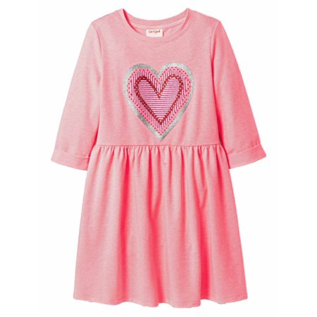 cb346cca7a8f Cat & Jack - Cat & Jack Girls Pink Silver Glitter Heart Valentine Dress  Tunic - Walmart.com
