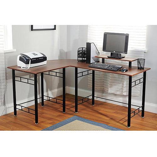 Atrium Metal And Glass L Shaped Computer Desk Multiple