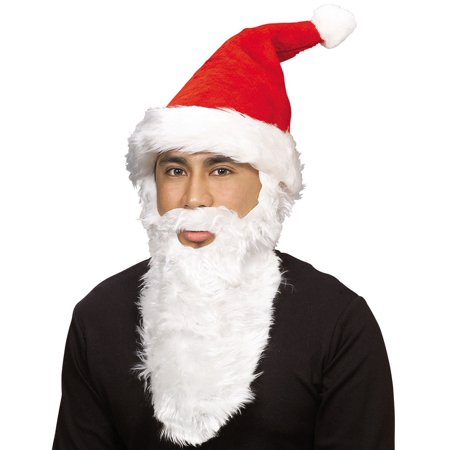 Adult Plush Santa Hat With Beard for $<!---->