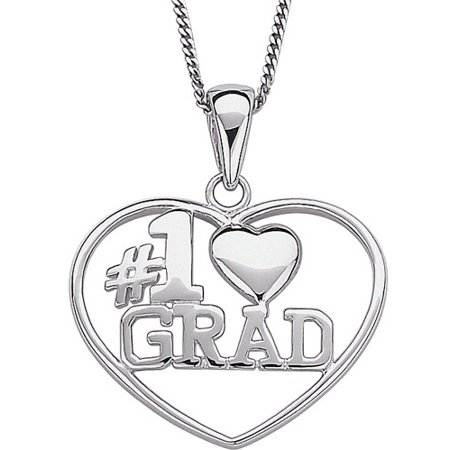 Sterling Silver #1 Grad Heart Pendant, 18