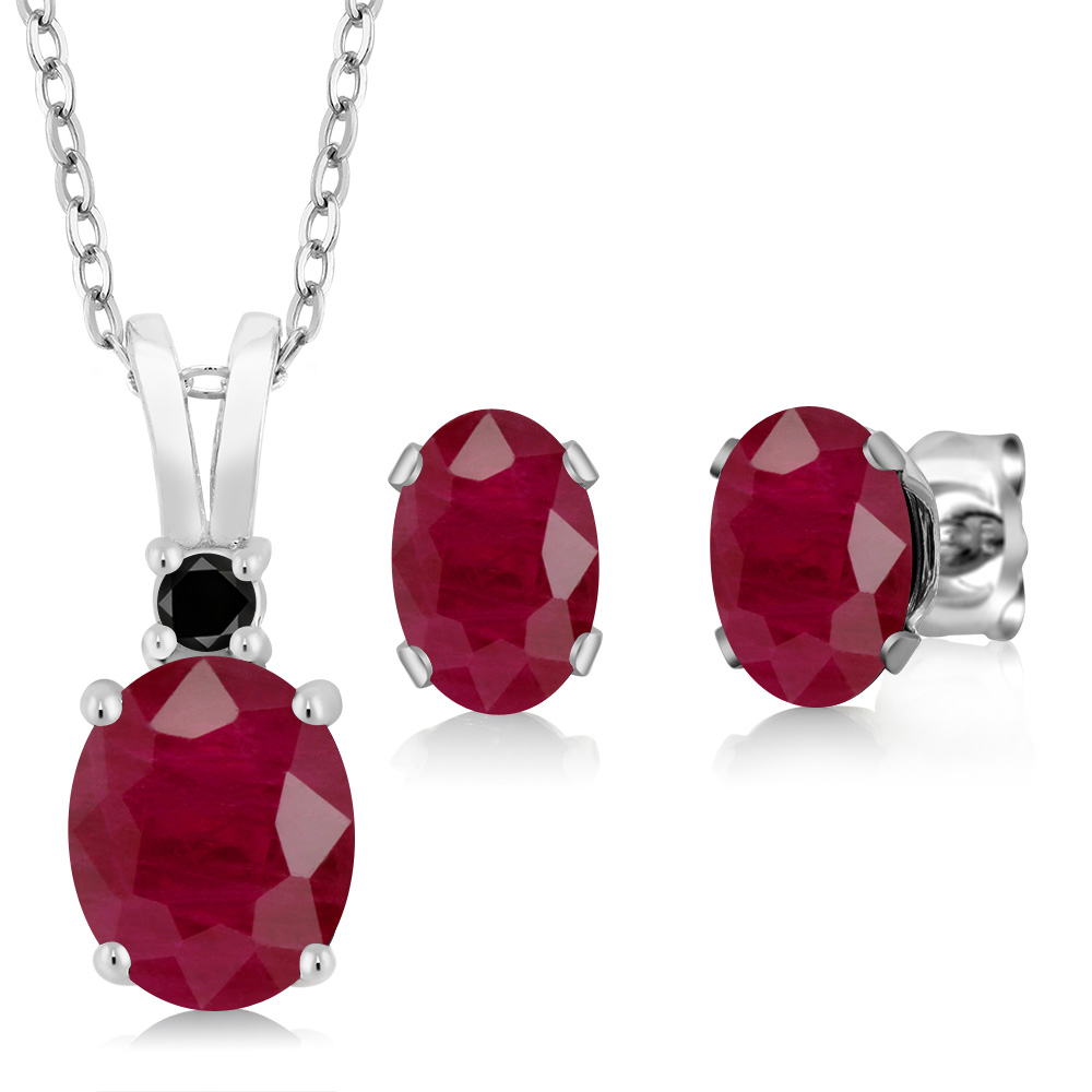 4.00 Ct Oval Red Ruby 925 Sterling Silver Pendant Earrings Set by