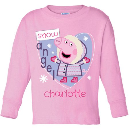 Personalized Peppa Pig Snow Angel Pink Toddler Girl Long Sleeve Tee for $<!---->