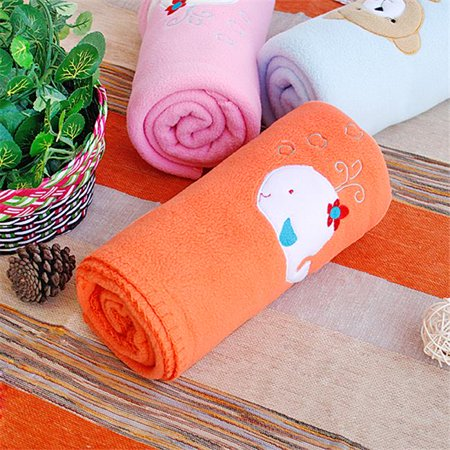 TB-BLK013-WHALE-29.5by39.4 White Whale - Orange Embroidered Applique Coral Fleece Baby Throw Blanket
