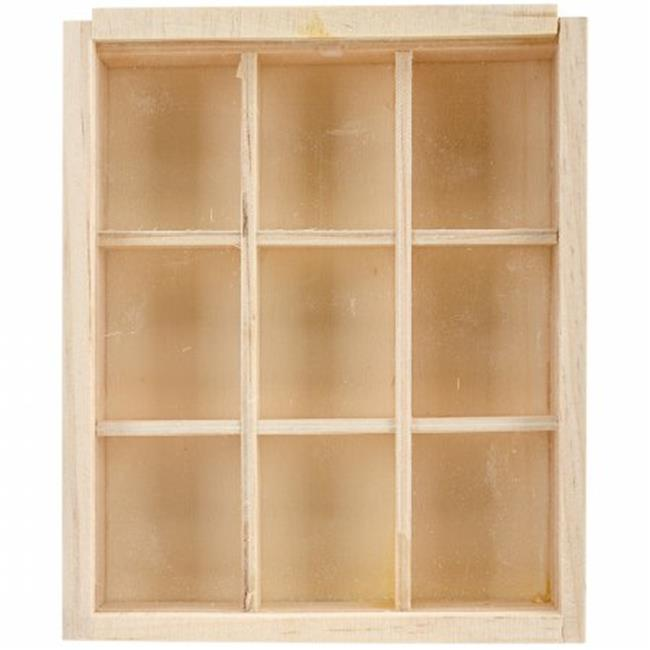 Multicraft Imports WS288 Wood Craft Natural DIY 9 - Window Keepsake Box - 4. 75 x 5. 75 inch