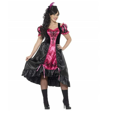 Smiffy's Women's Plus Size Wild West Saloon Girl Costume Dress and Feather Hairclip