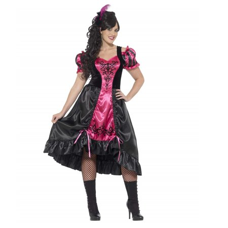 Smiffy's Women's Plus Size Wild West Saloon Girl Costume Dress and Feather Hairclip](Wild West Saloon Girl)