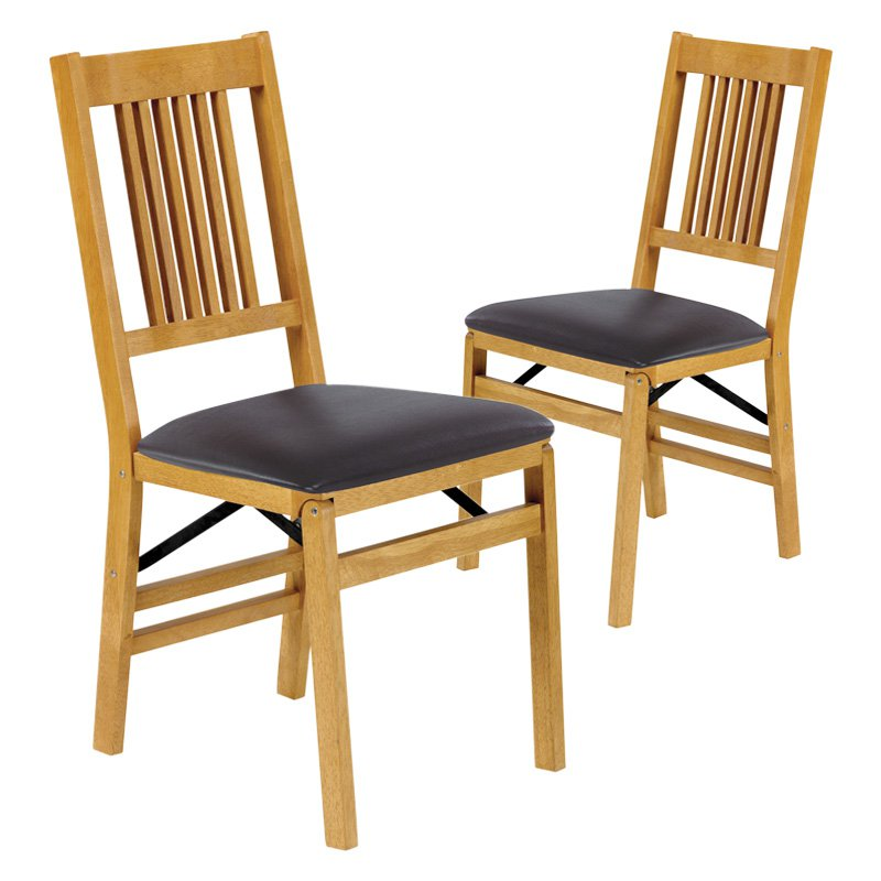 Stakmore True Mission Upholstered Folding Chair   Set Of 2