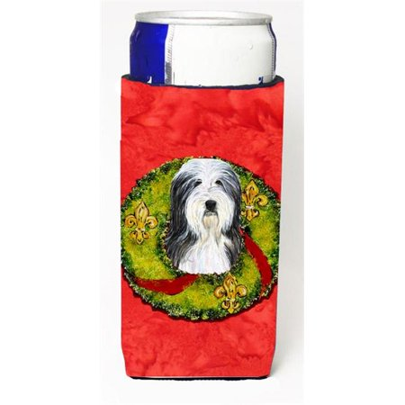 Carolines Treasures SS4186MUK Bearded Collie Christmas Wreath Michelob Ultra bottle sleeves For Slim Cans - 12 oz. - image 3 de 3