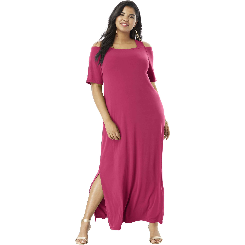 Roaman\'s Plus Size Cold-shoulder Maxi Dress