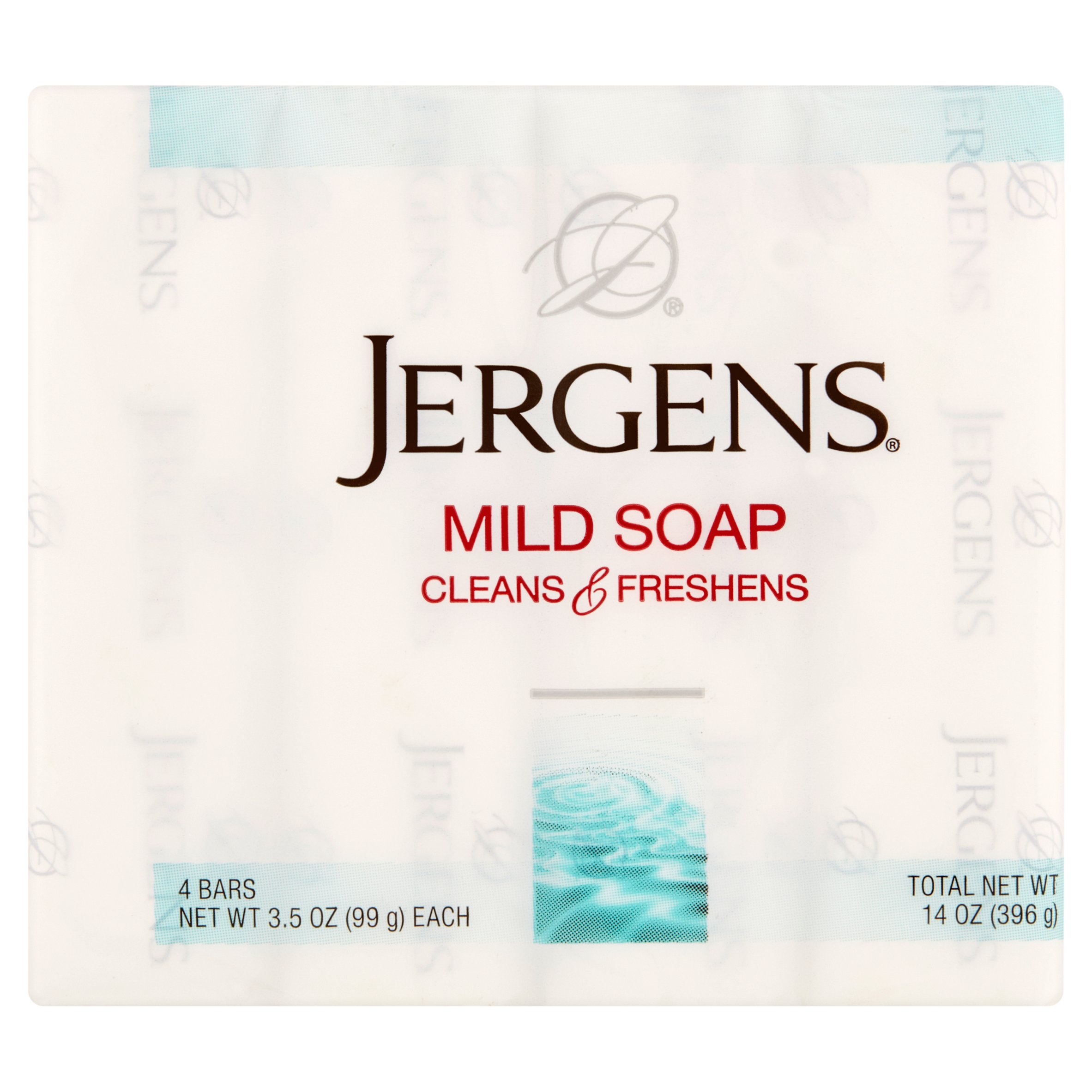 Jergens Cleans & Freshens Mild Soap Bars, 4 pack, 3.5 oz