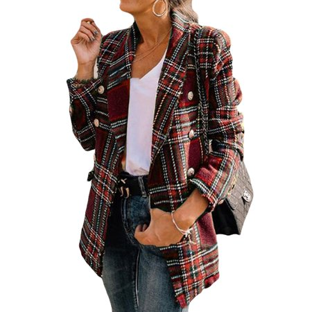 Red Plaid Blazer Women Spring-Autumn Double Breasted Vintage Tweed Suits Jackets Office Ladies Chic Slim Blazers Girls Tassel Tops Set Coat Double Breasted Silk Coat